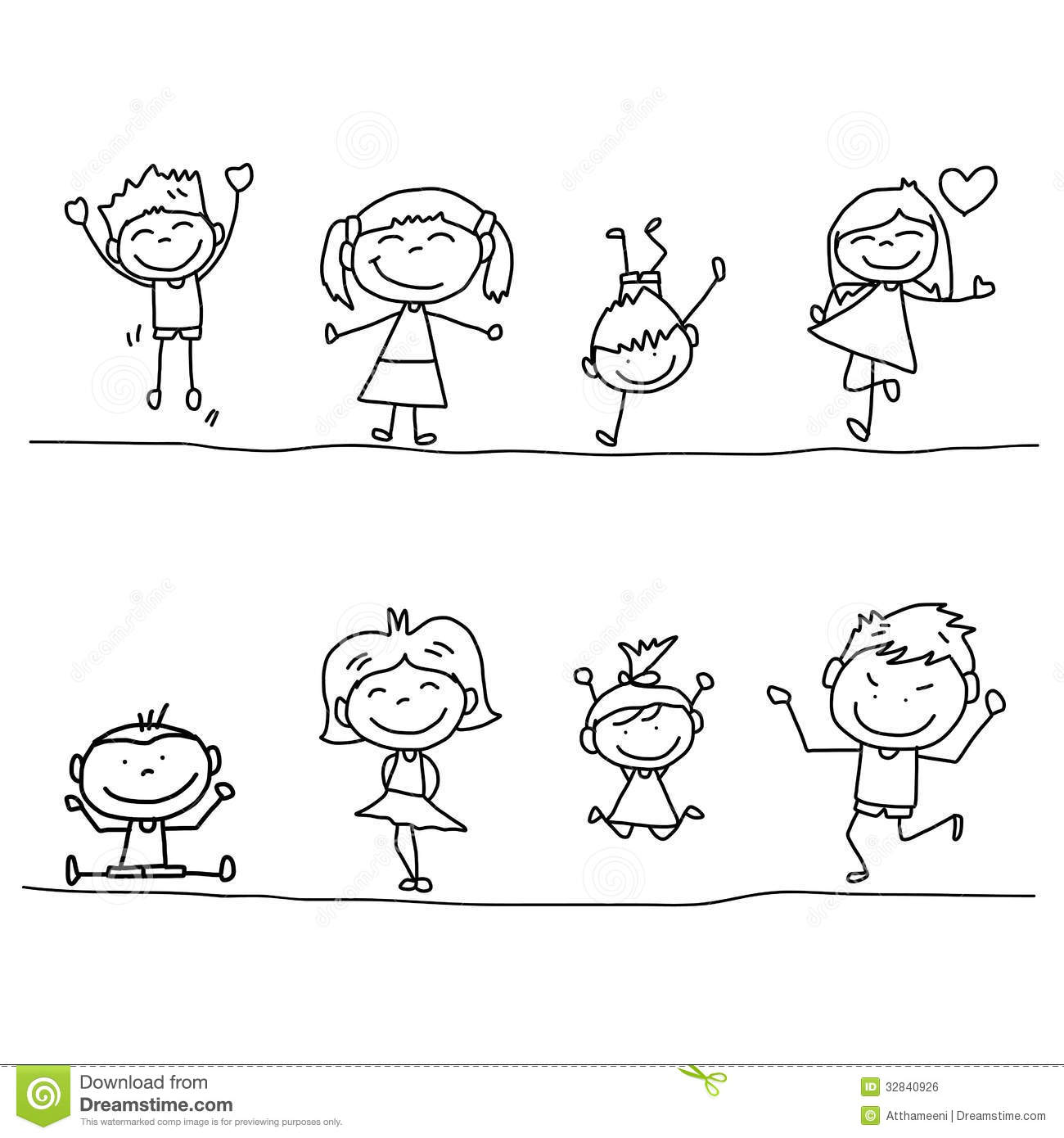 Hand Drawing Cartoon Happy Kids Stock Illustration Illustration Of
