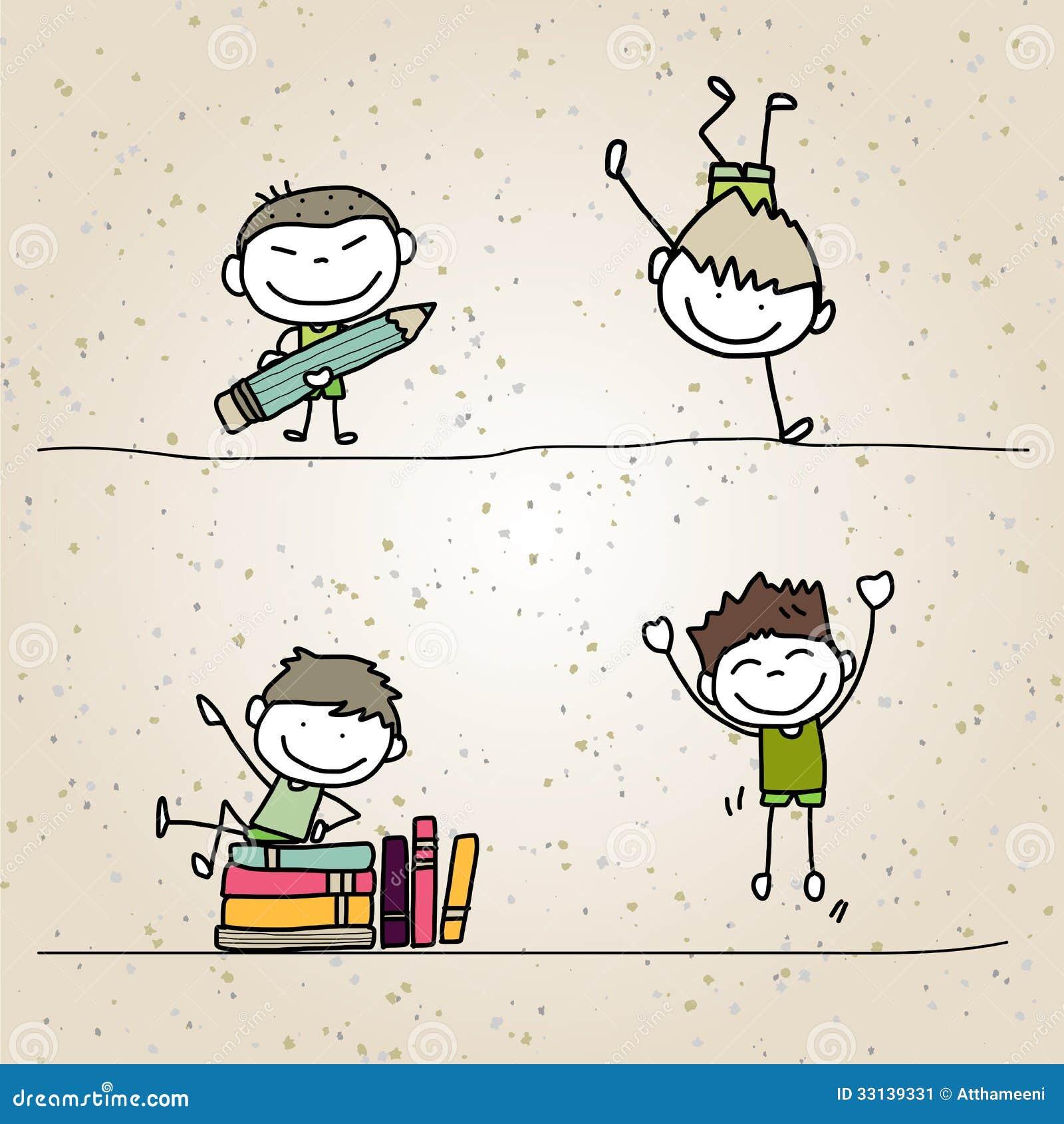 hand drawing cartoon happy kids stock image - Cartoon Kids Drawing