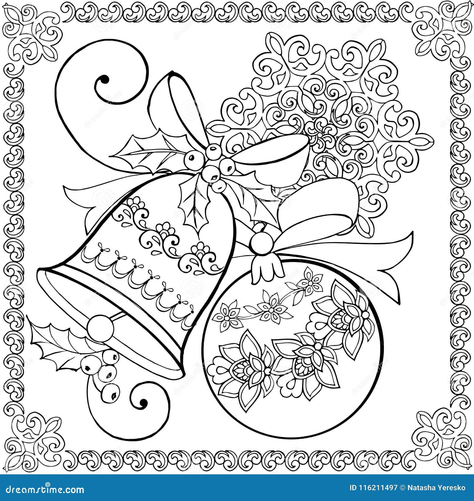 Hand Drawing Christmas Bell, Christmas Ball And Snowflake For The ...