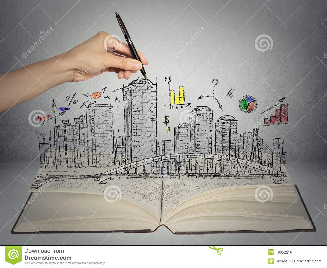 Background Property Developments : Hand drawing city skyline business concept stock photo