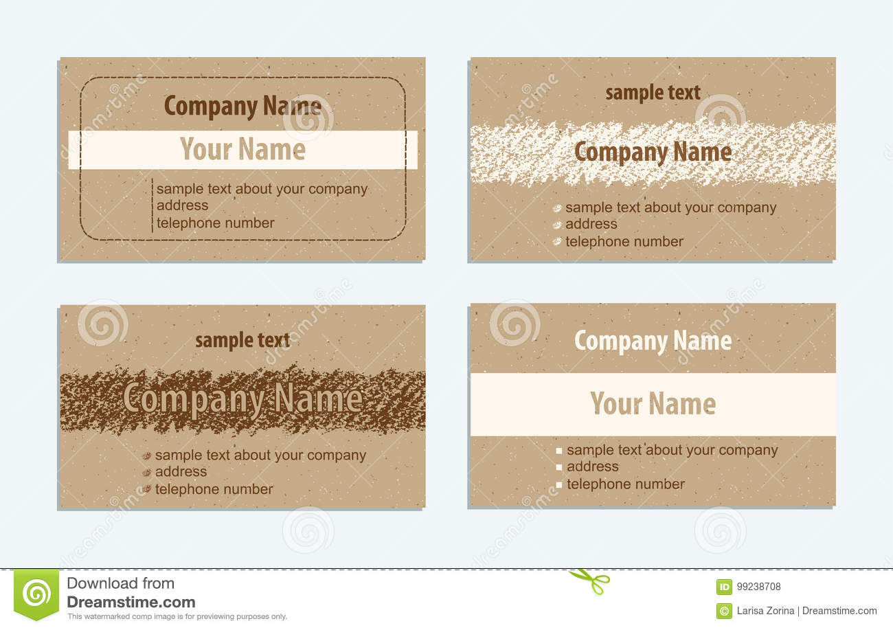 Set Of Vintage Handmade Business Cards With Hand Drawing Textures ...