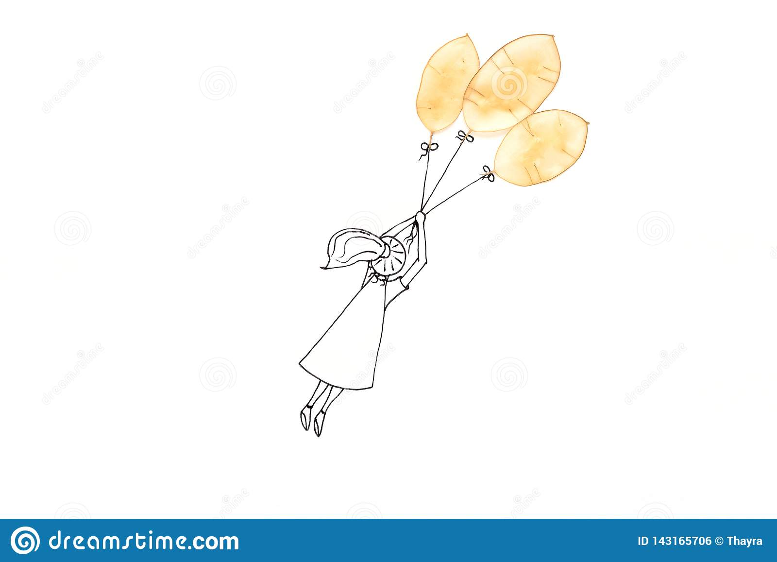 Hand drawing cute cartoon girl flying with balloon made of translucent seedpods. Minimal, creative or dreaming concept. Copy space