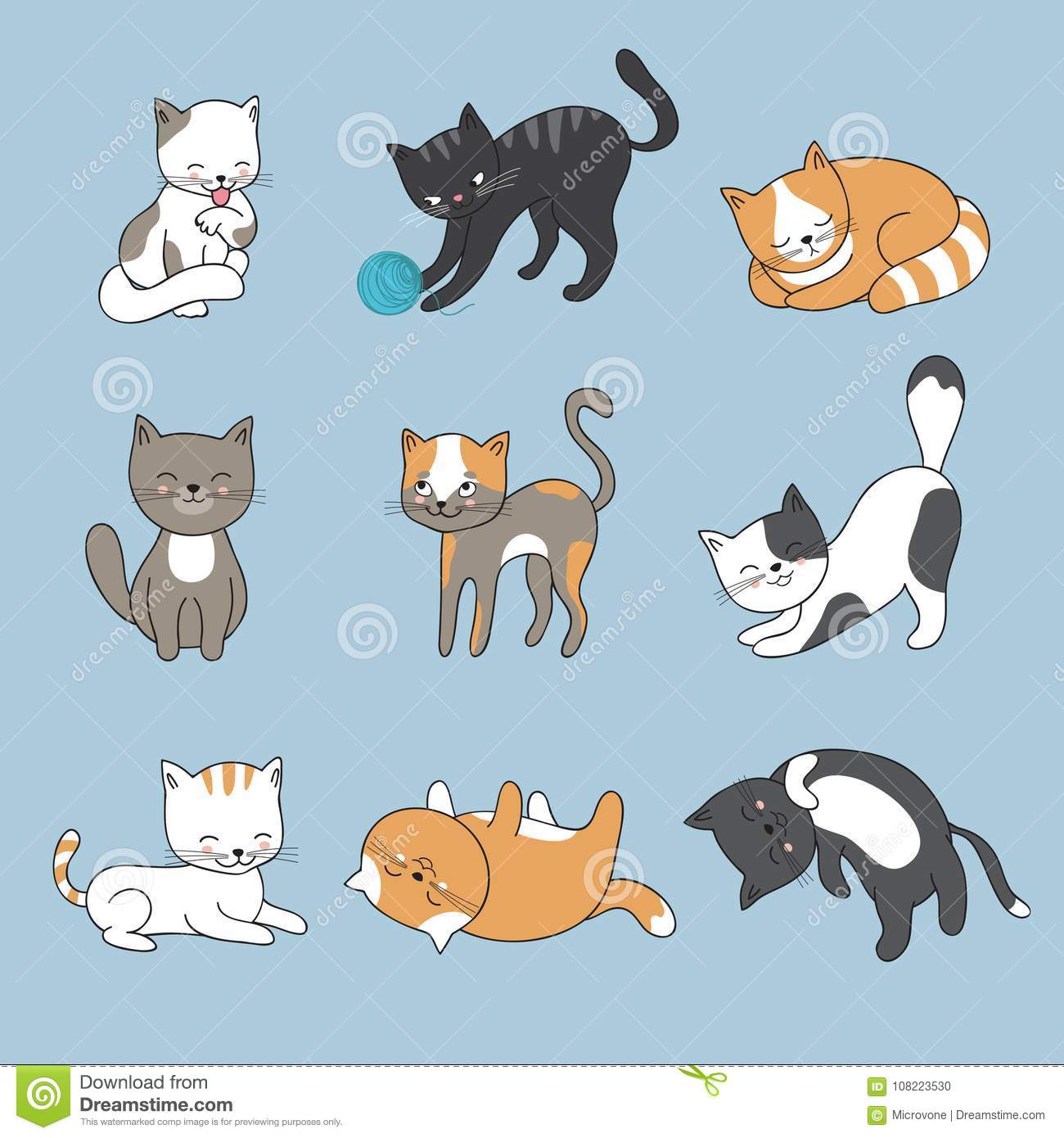 Hand Drawing Cute Cats. Vector Kitty Collection Stock Vector