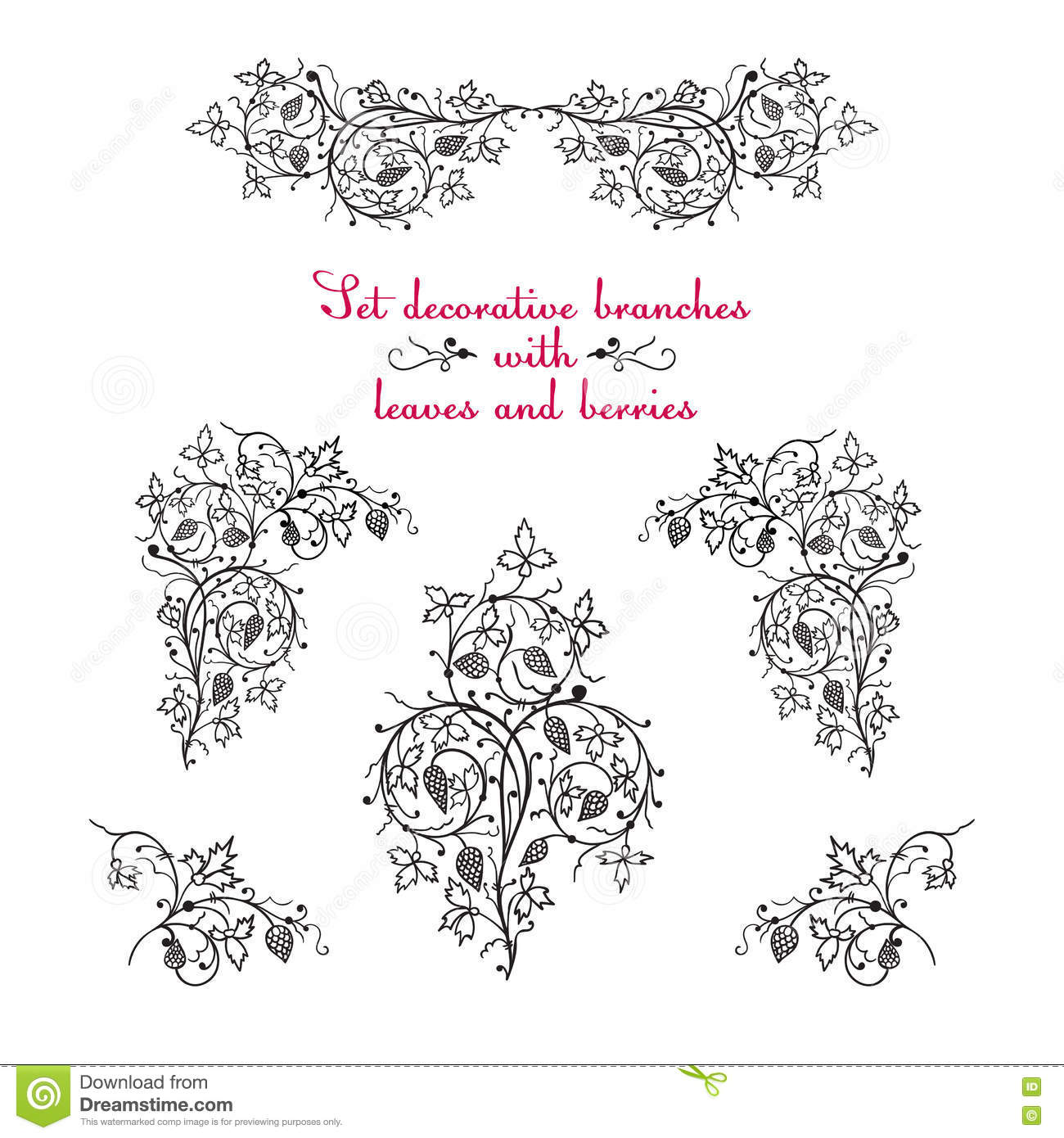 Hand Drawing Decorative Floral Elements Stock Illustration