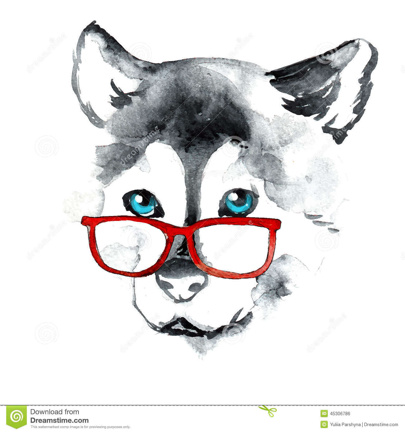 Hand Drawing Dog In Red Glasses Stock Vector Image 45306786