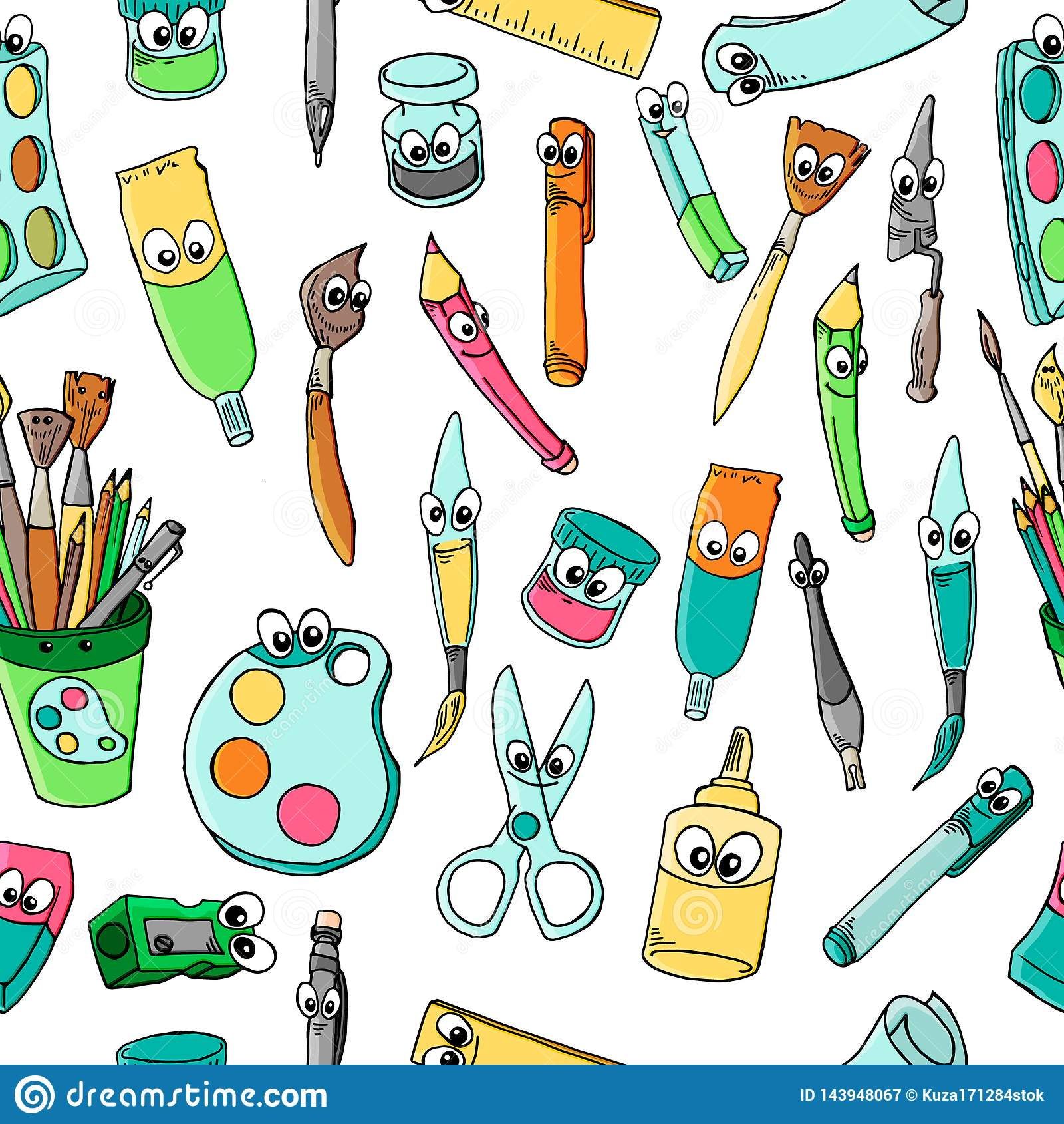 School Of Cartoon Characters Stationery: Pencil, Ball Pen