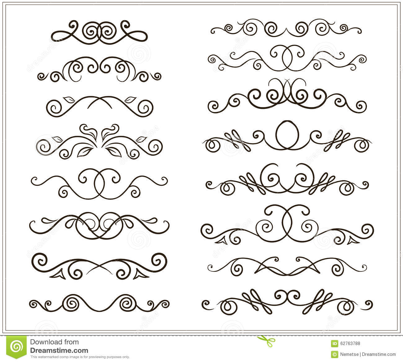 ... line borders, Set of floral ornaments and waves. Vector illustration