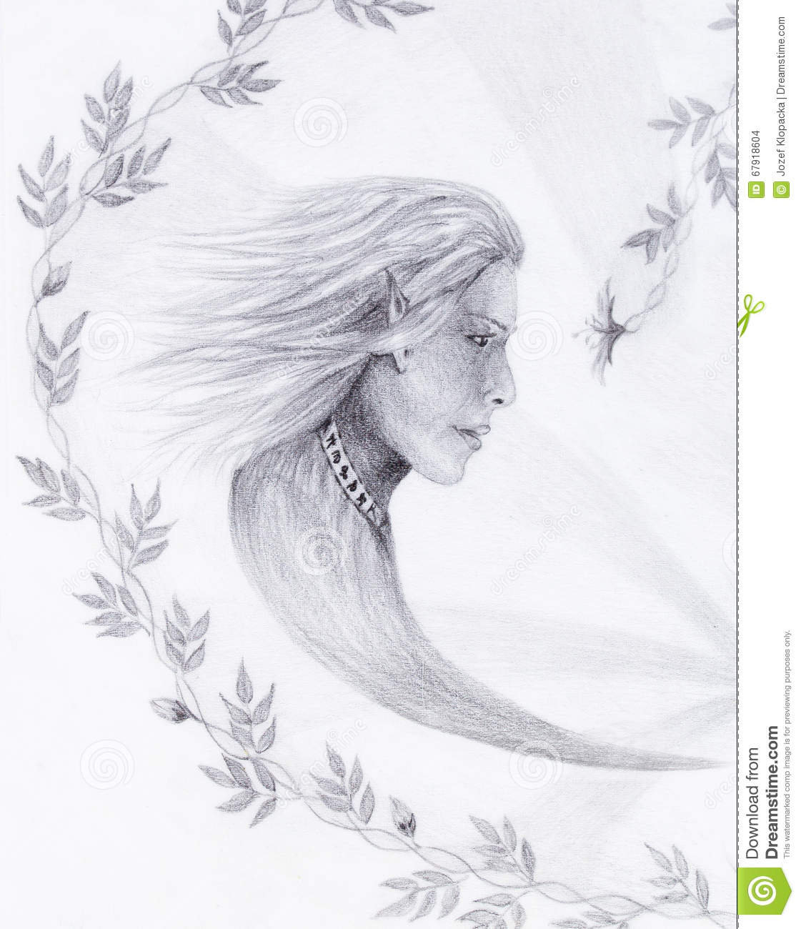Hand Drawing Elf With Beautiful Flower Draw On Vintage Paper
