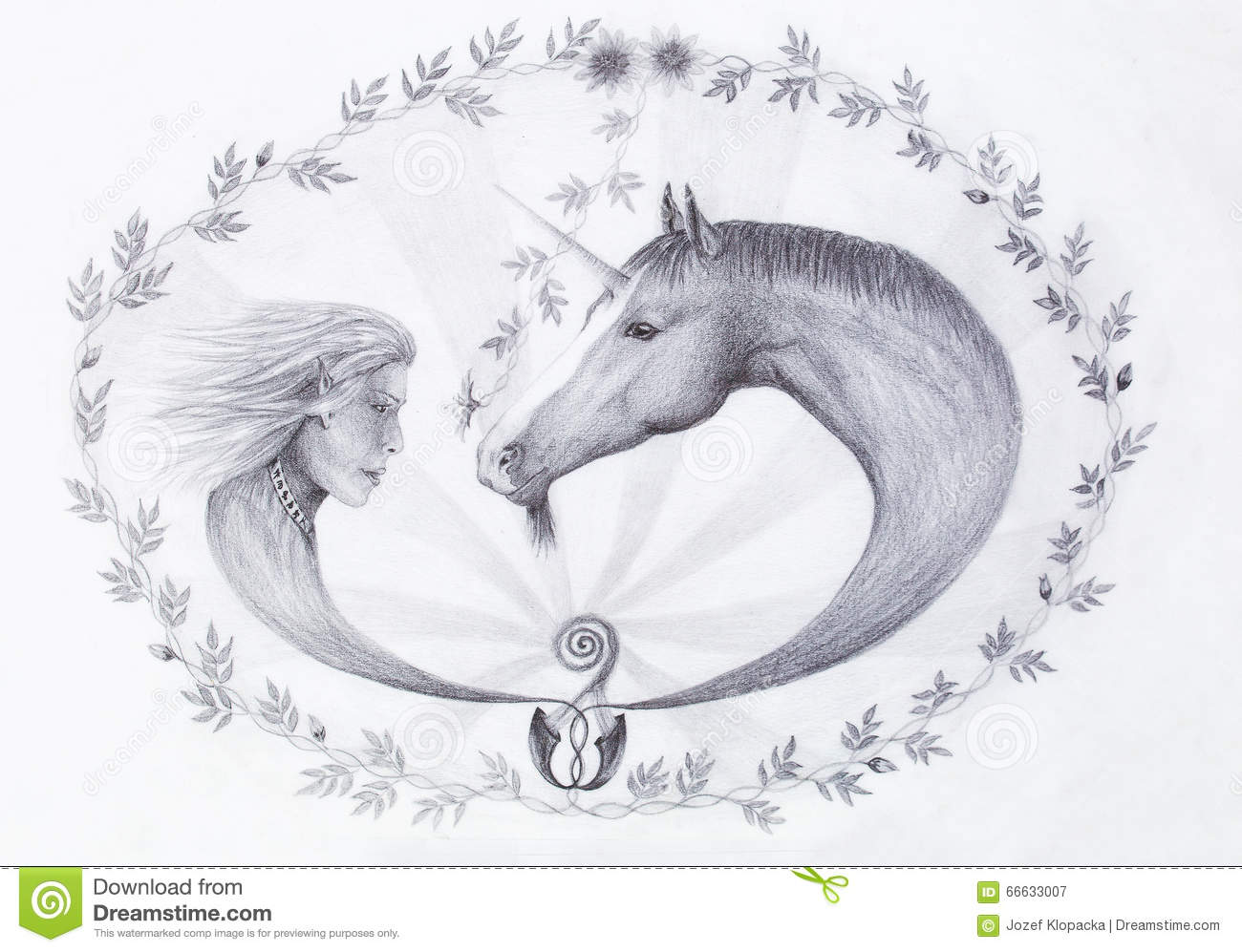 Hand Drawing Elf And Unicorn With Beautiful Flower Draw On Vintage