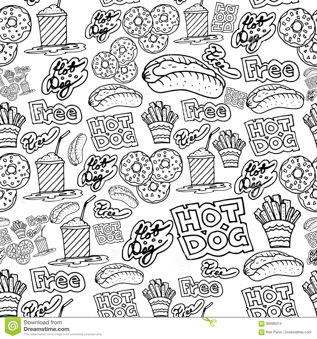 Hand Drawing Fast Food Doodles Pattern Stock Illustration