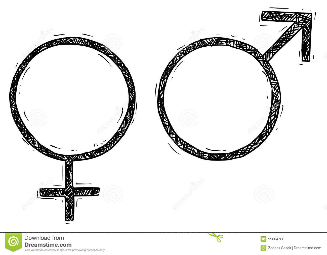 Hand Drawing Female And Male Symbol Illustration Stock Vector