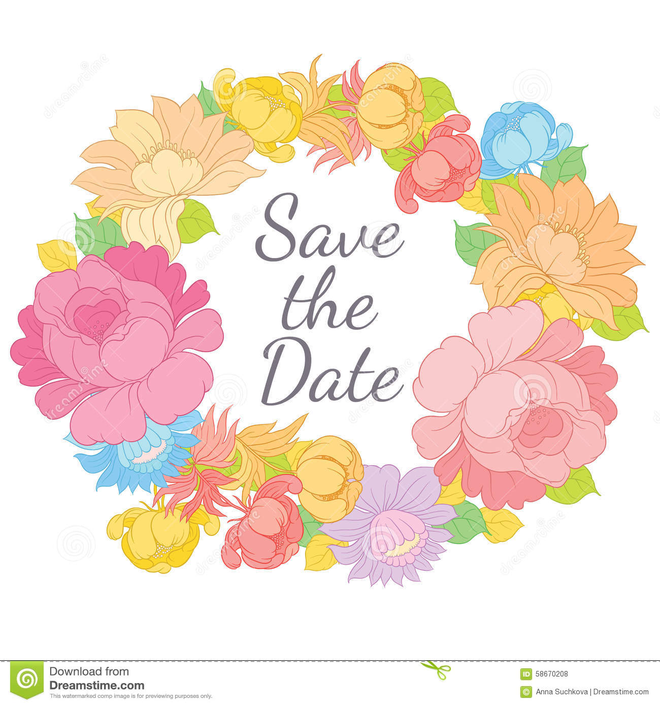 hand drawing floral frame with lettering save the date