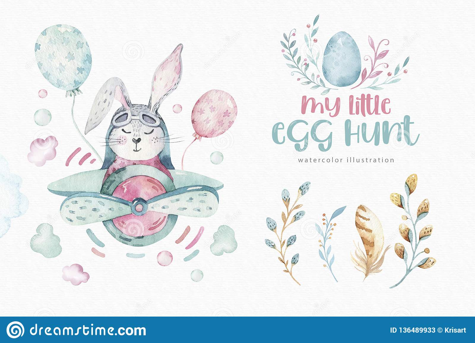 Hand Drawing Fly Cute Easter Pilot Bunny Watercolor Cartoon Bunnies With Airplane In The Sky Turquoise Watercolour Stock Illustration Illustration Of Colorful Little 136489933