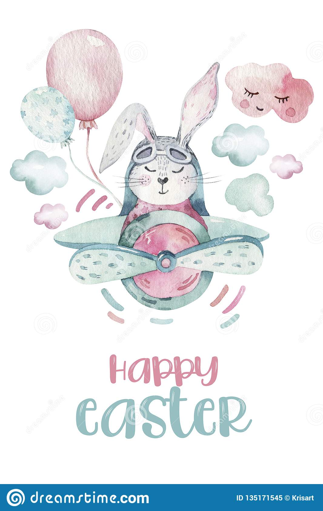 Hand Drawing Fly Cute Easter Pilot Bunny Watercolor Cartoon Bunnies With Airplane In The Sky Turquoise Watercolour Stock Illustration Illustration Of Cute Little 135171545