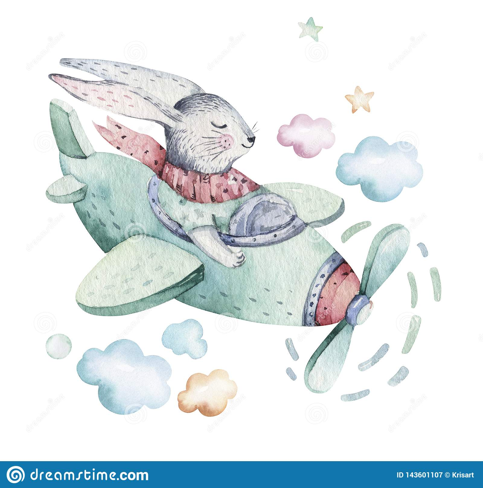 Hand drawing fly cute easter pilot bunny watercolor cartoon bunnies with airplane in the sky. Turquoise watercolour