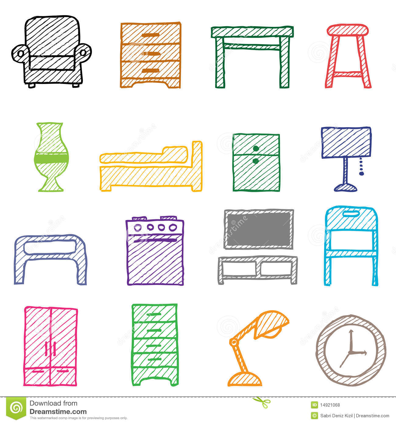 Royalty Bedroom Furniture Hand Drawing Furniture Icons Royalty Free Stock Photos