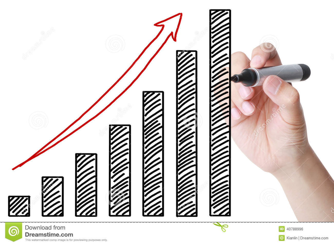 hand drawing growing bussiness graph stock illustration