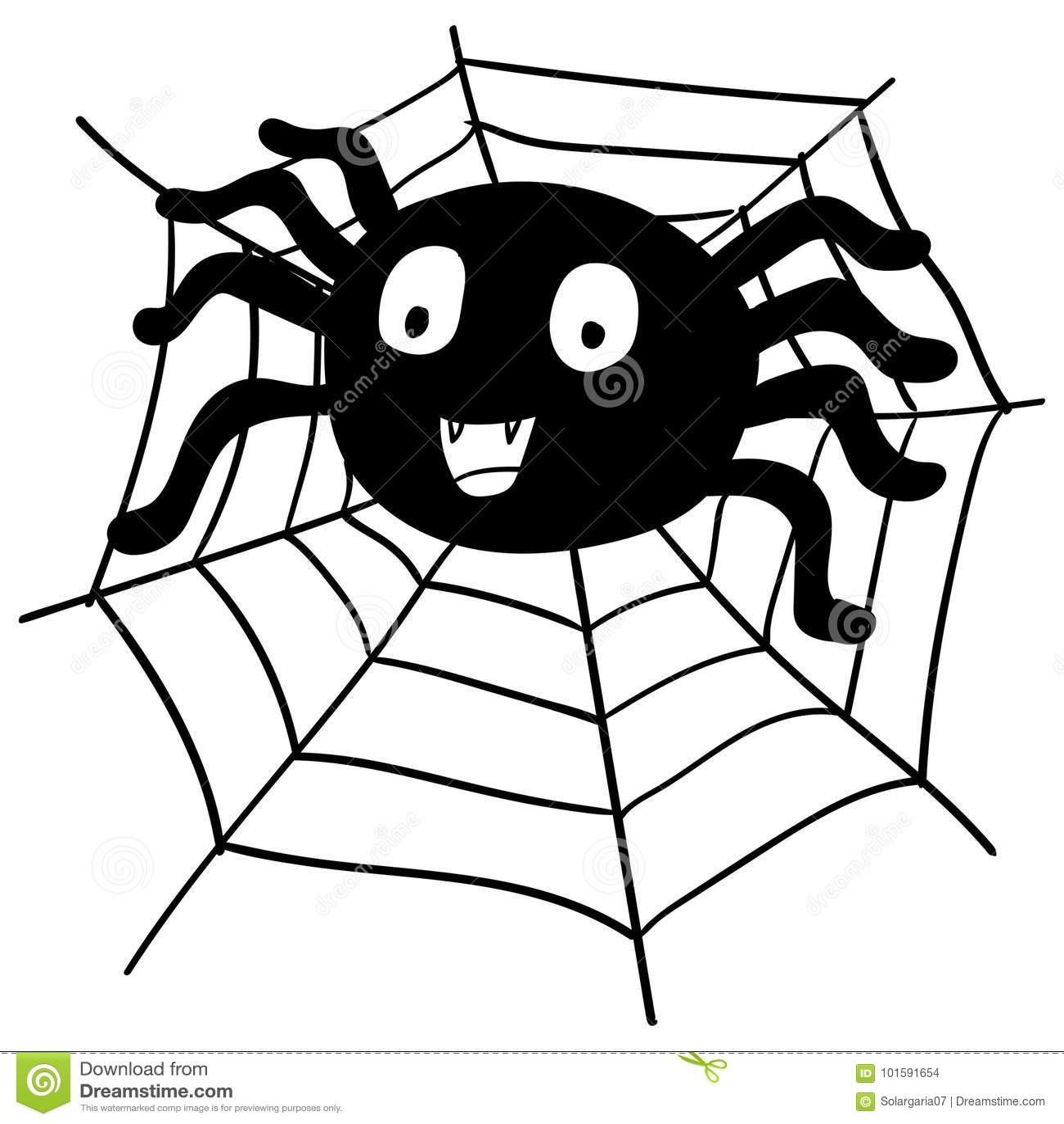 Hand Drawing Halloween Spider Cartoon-Vector Illustration ...