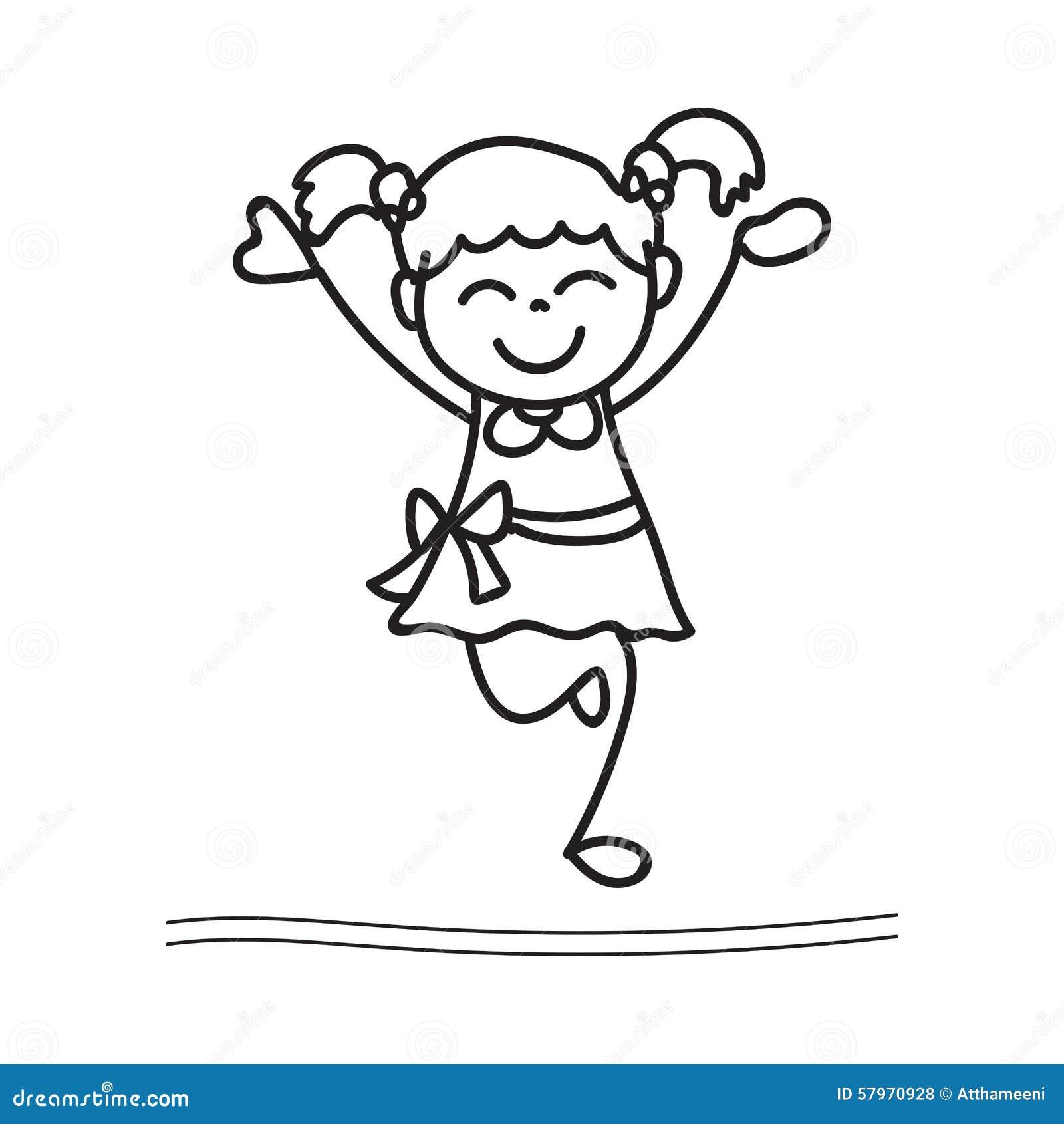 Hand drawing cartoon happy girl dancing