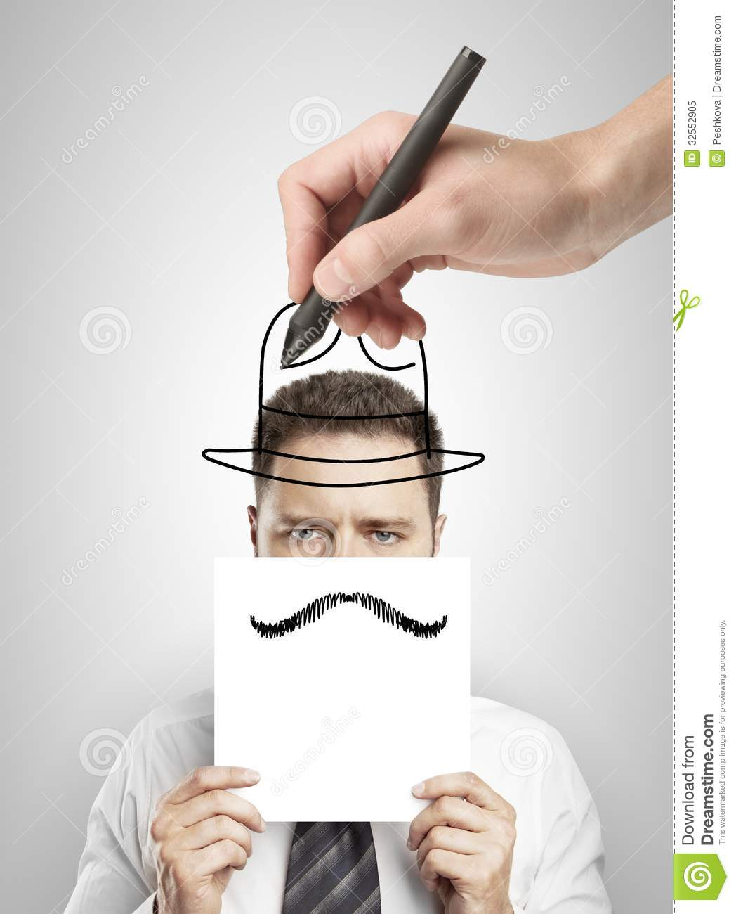 Technology Management Image: Hand Drawing Hat Royalty Free Stock Photo