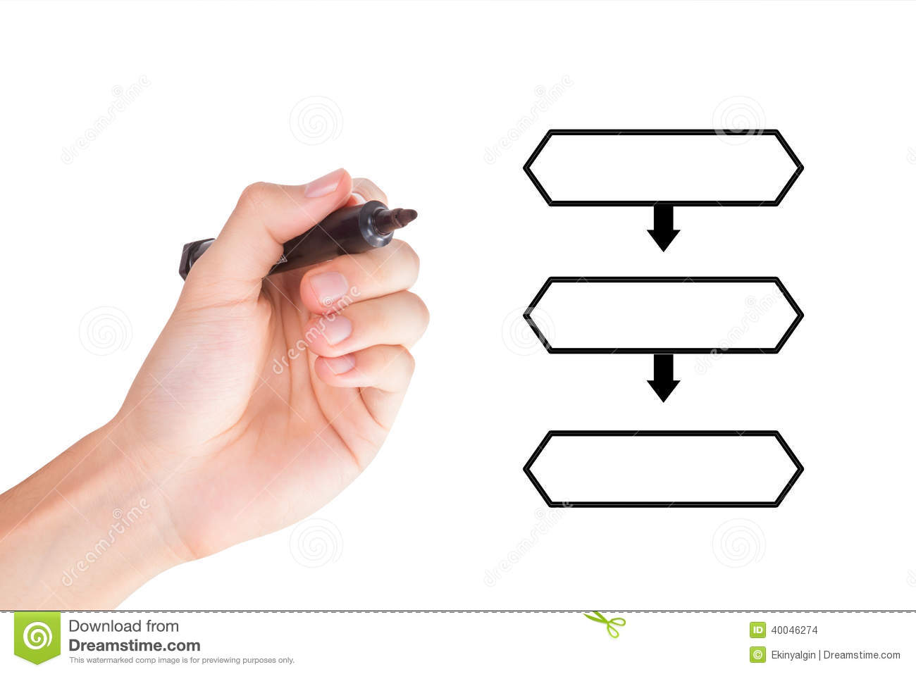 Hand Drawing Hierarchical Flow Chart With Marker Stock Photo Image
