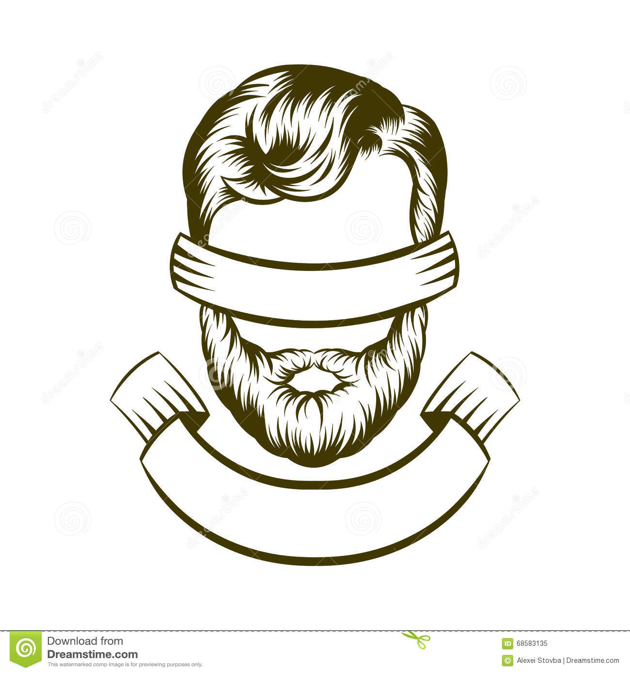 Hand Drawing Hipster Hair Style Logo Design Vector Illustration