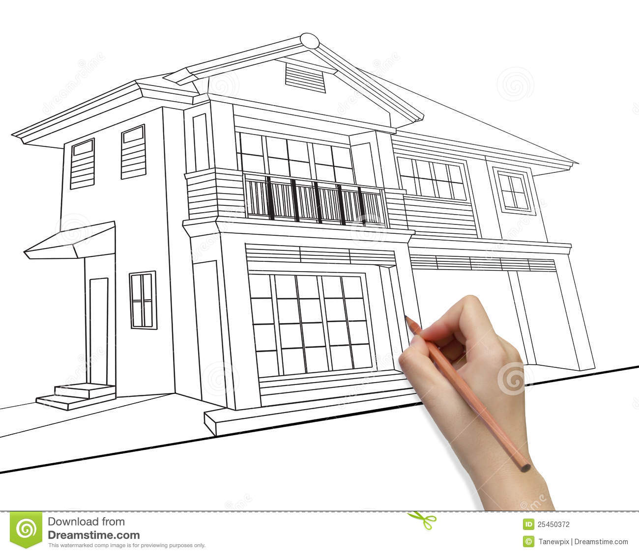 Hand drawing house model development concept stock for Construct a house online