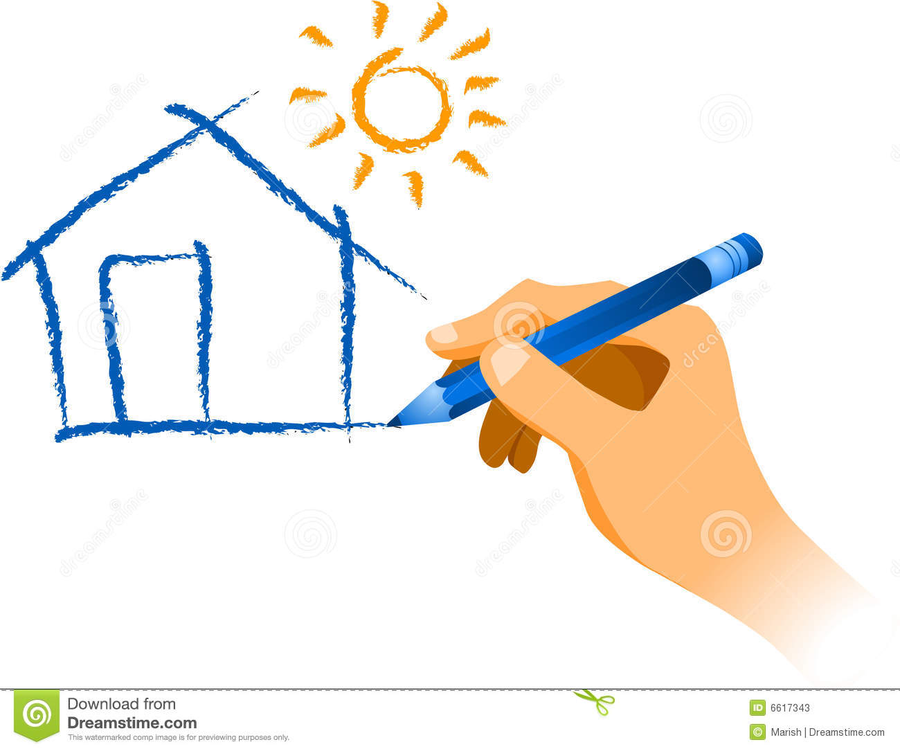 Hand Drawing A House With Sun Stock Photos Image 6617343