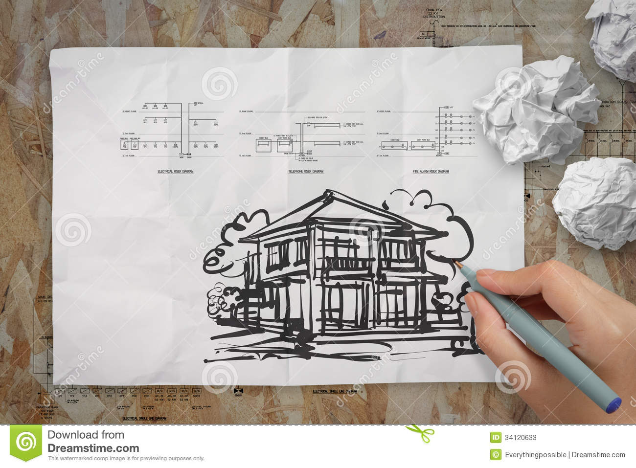 Hand Drawing House On Wrinkled Paper Stock Image - Image of business ...