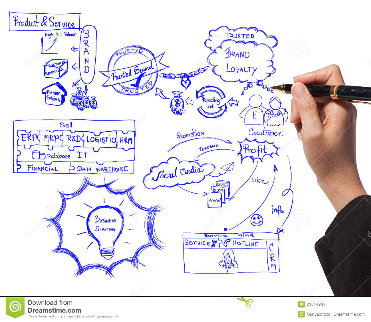 Hand Drawing Idea Board Of Brand Building Process Stock Image