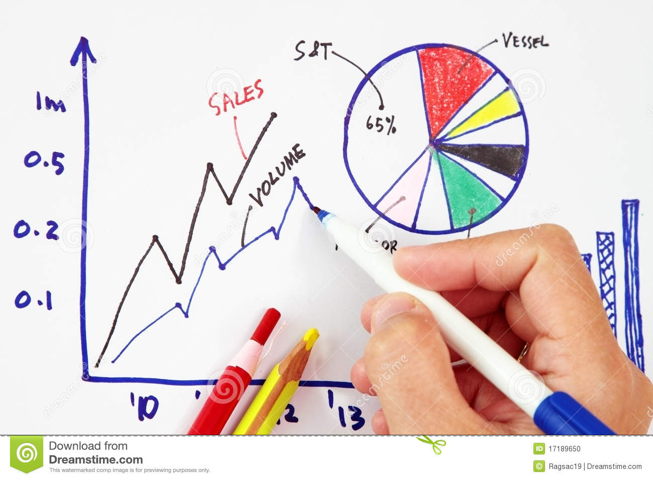 Drawing Line Graphs By Hand : Hand drawing an increasing bar line graph stock photo