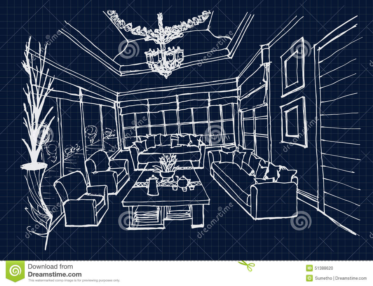 Hand Drawing Interior Design For Living Room On Blue Print