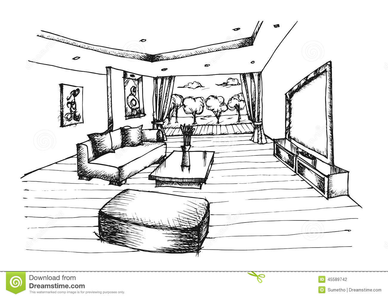Hand drawing interior design for living room stock vector for Drawing room interior design photos