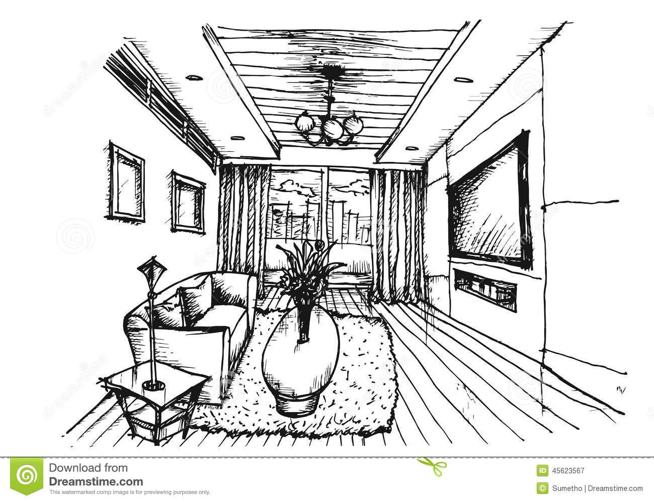 hand drawing interior design for living room stock vector image