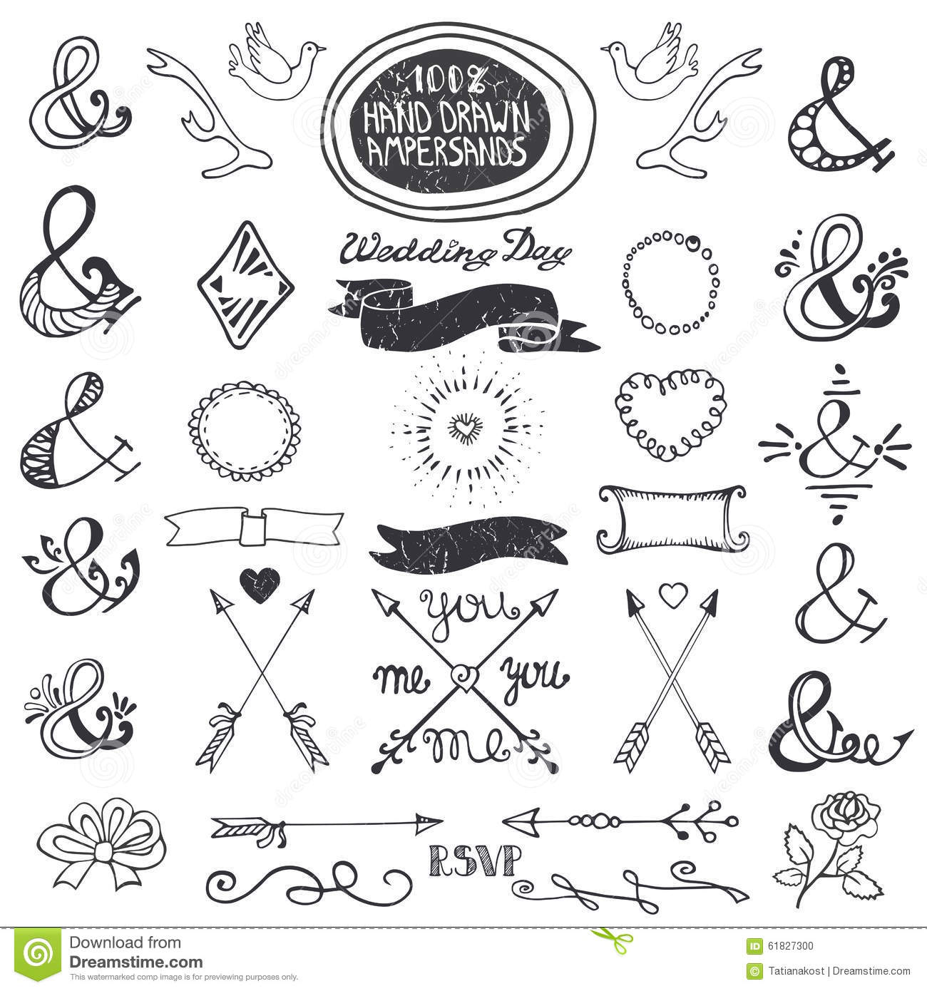 Hand Drawing Lettering Ampersands Set Wedding Stock