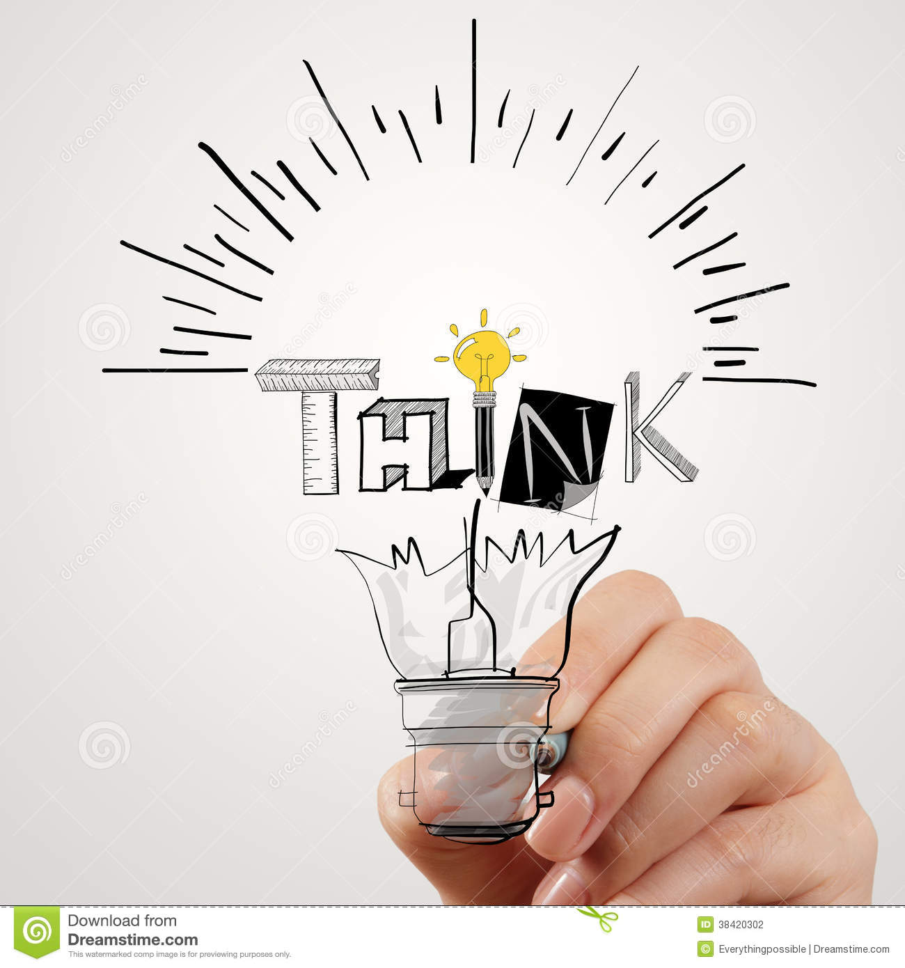 Hand Drawing Light Bulb And THINK Word Stock Photography - Image ...