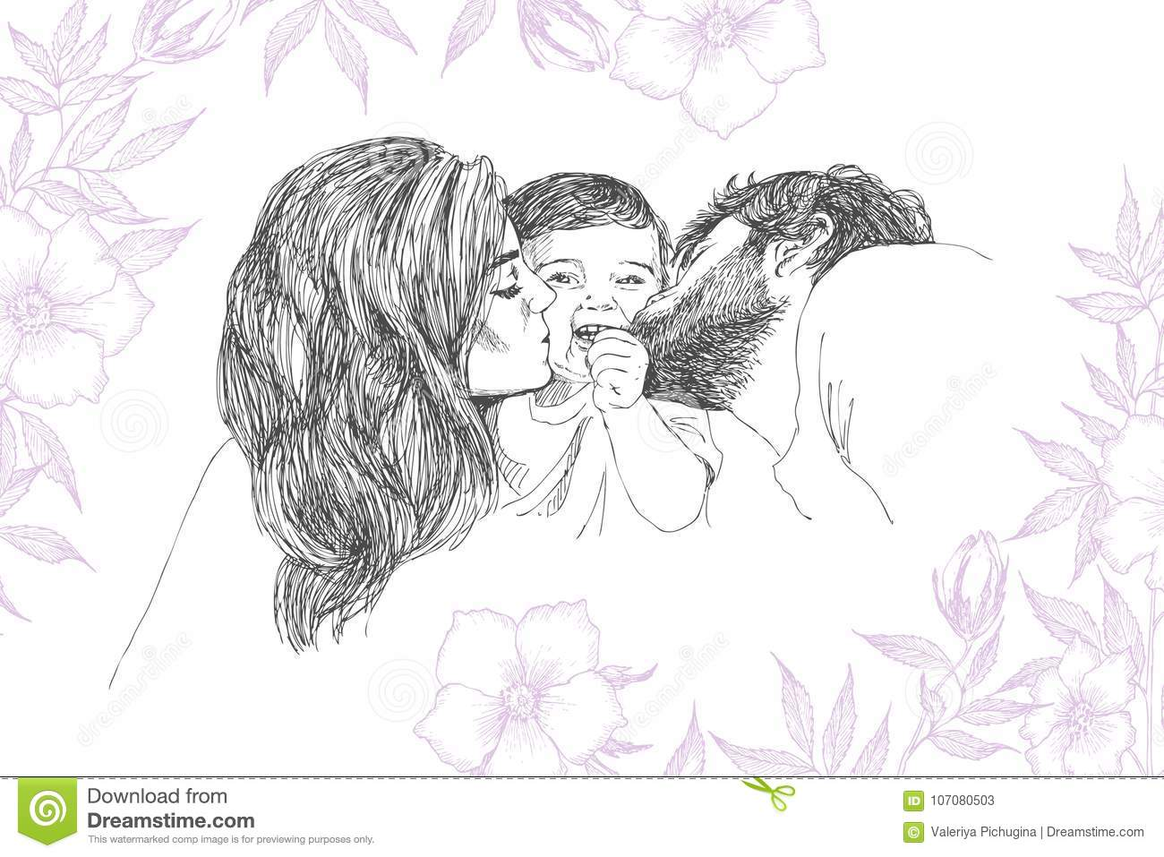 Sketch Mother And Baby Art