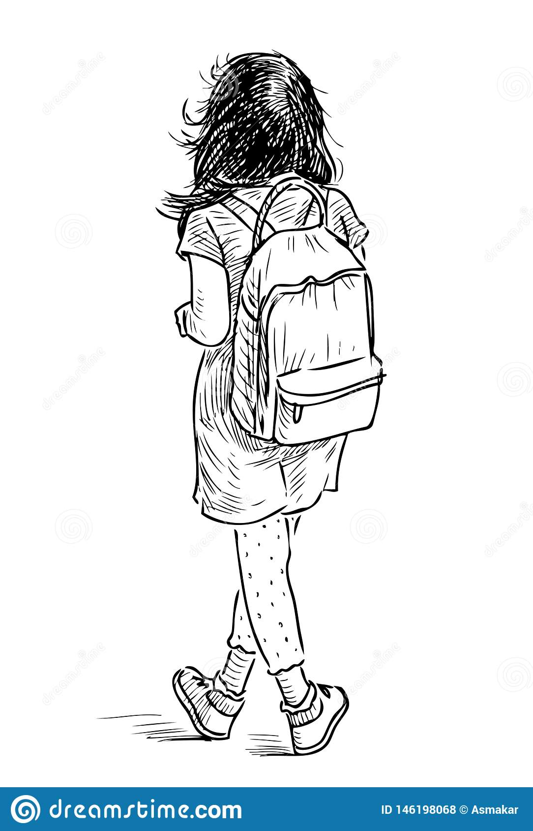 Hand Drawing Of A Little Girl With A Backpack Stock Vector