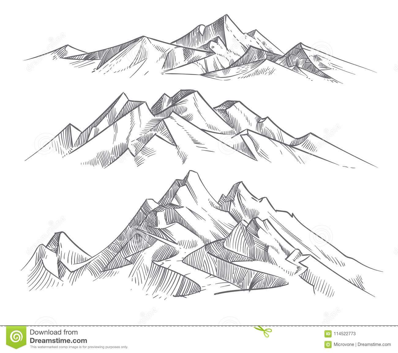 Hand Drawing Mountain Ranges In Engraving Style Vintage Mountains