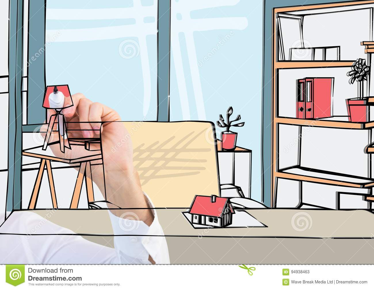 Drawing Lines In Office : Hand drawing office lines in the screen with color stock