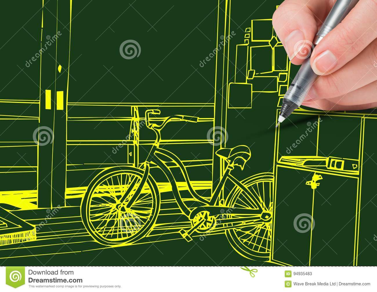 Drawing Lines In Office : Hand drawing office yellow lines on green background stock