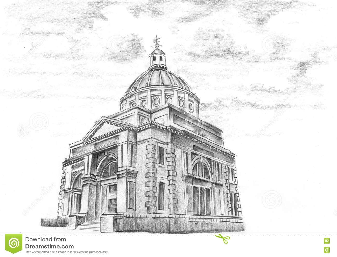 Hand Drawing Old City Church Stock Illustration Illustration Of Beautiful Graphic 81282009