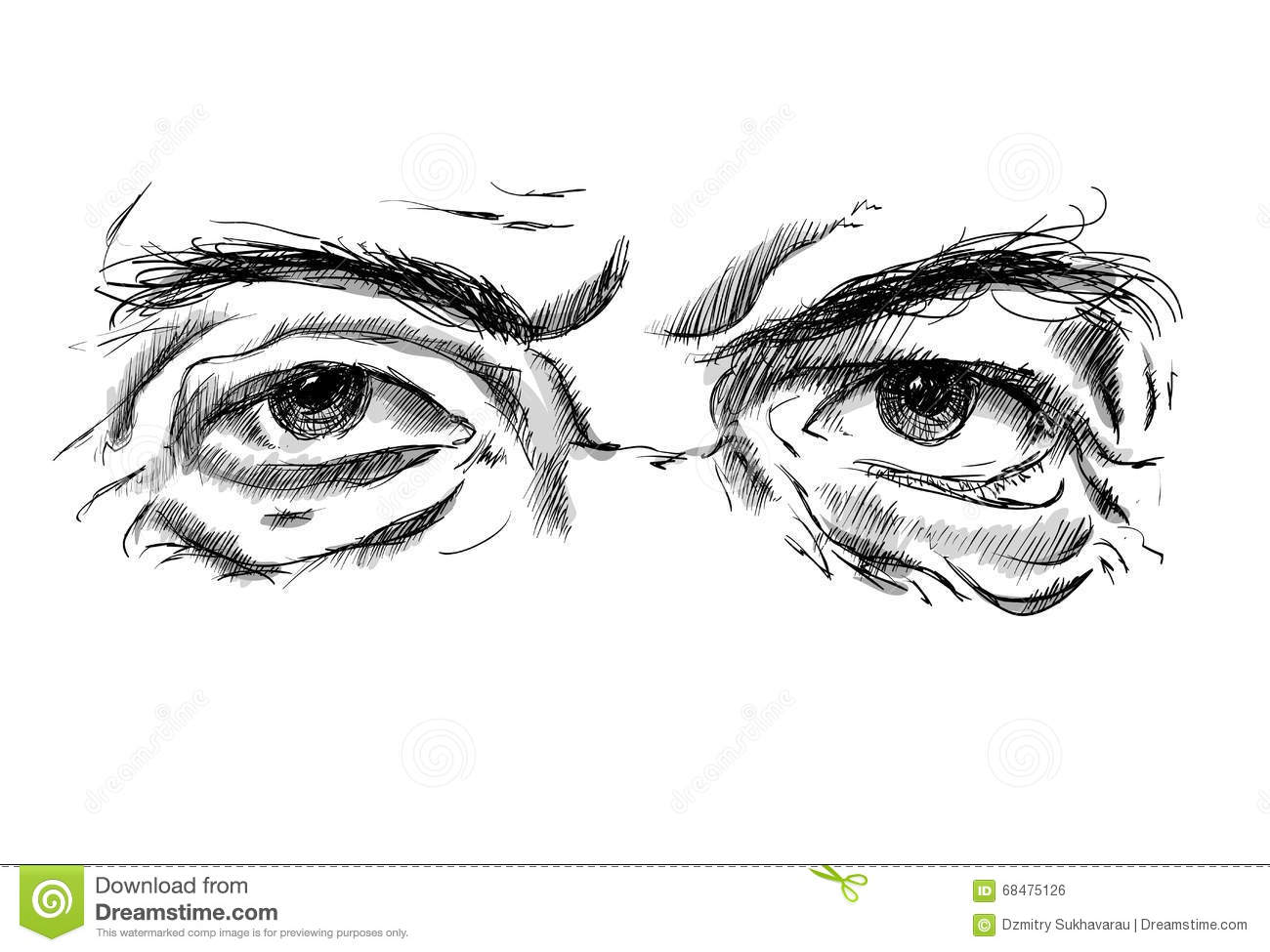 Hand drawing old mans eyes with glasses stock illustration