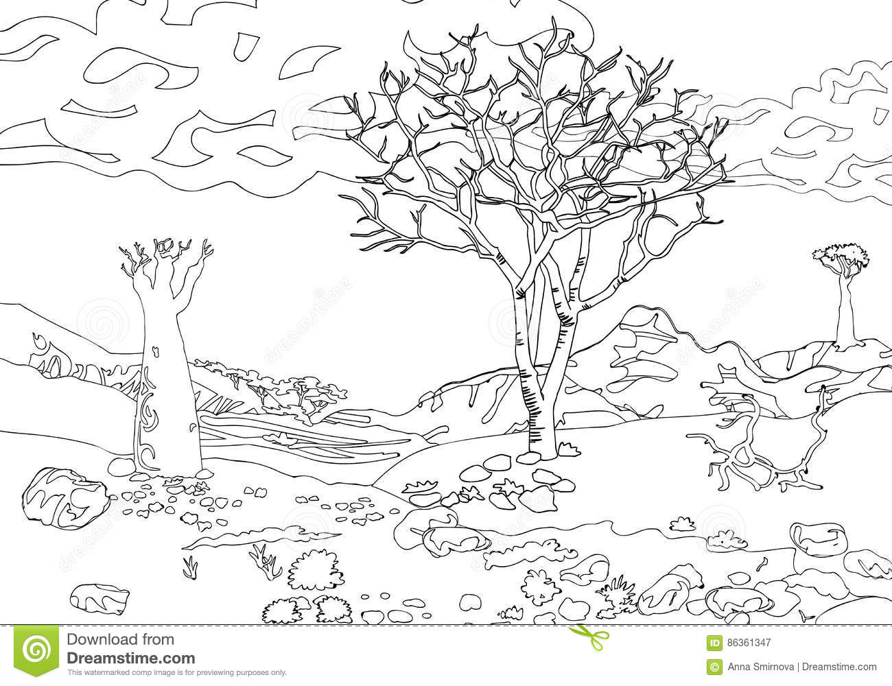 hand drawing ornamental landscape trees and stones travel dreams