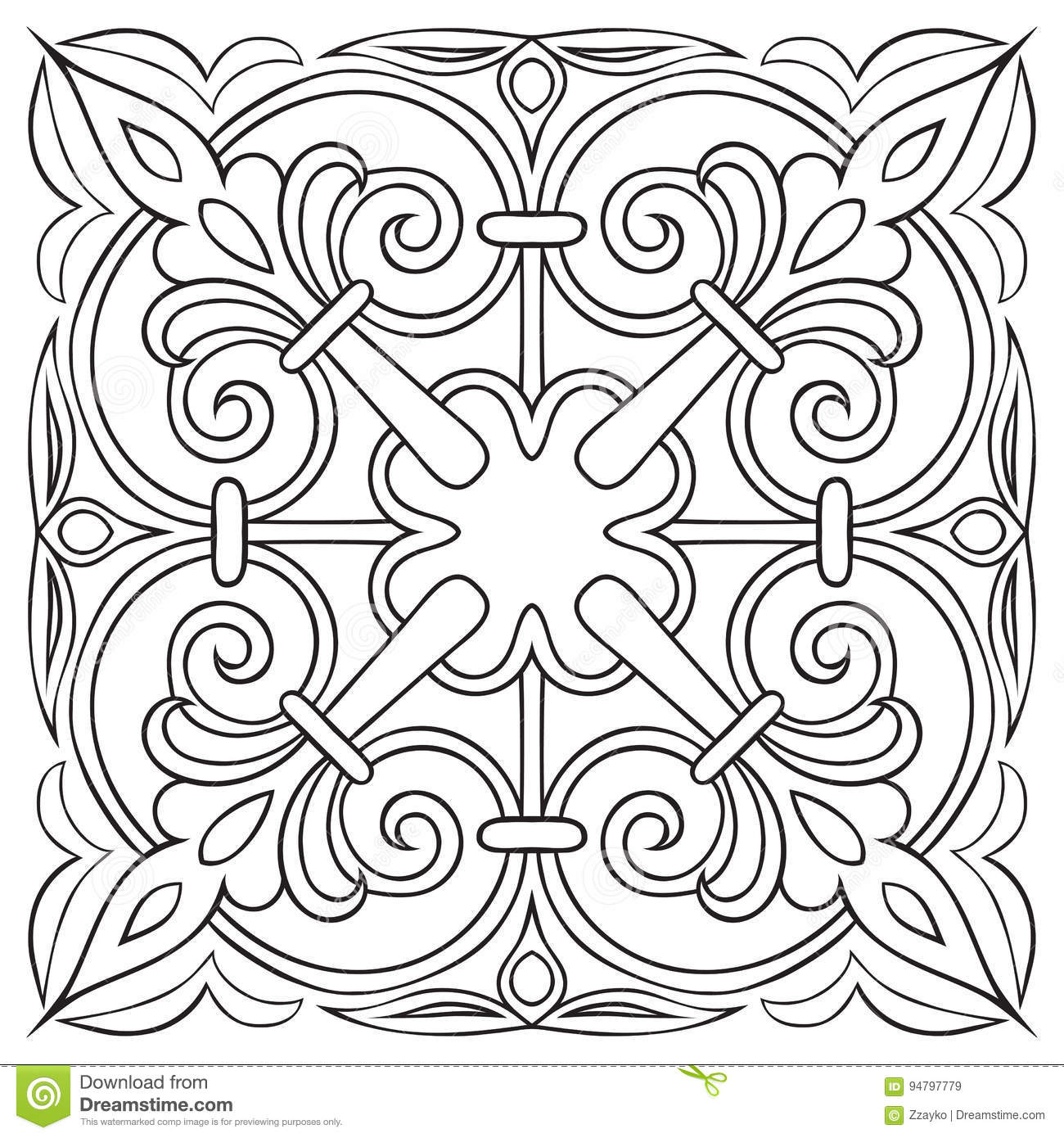 Hand Drawing Pattern For Tile In Black And White Colors Italian