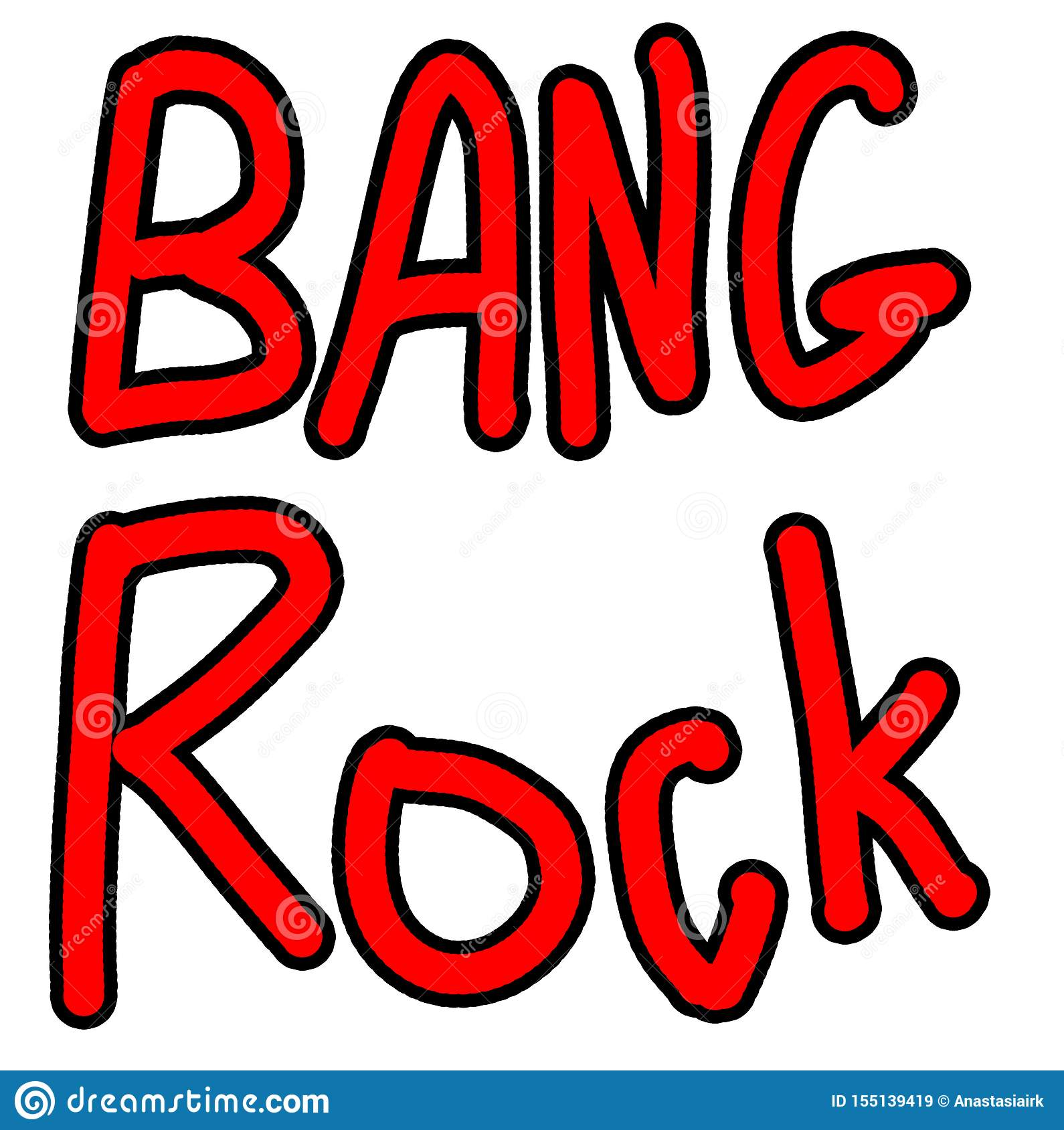 Hand Drawing Phrases Set Bang And Rock Doodle Red