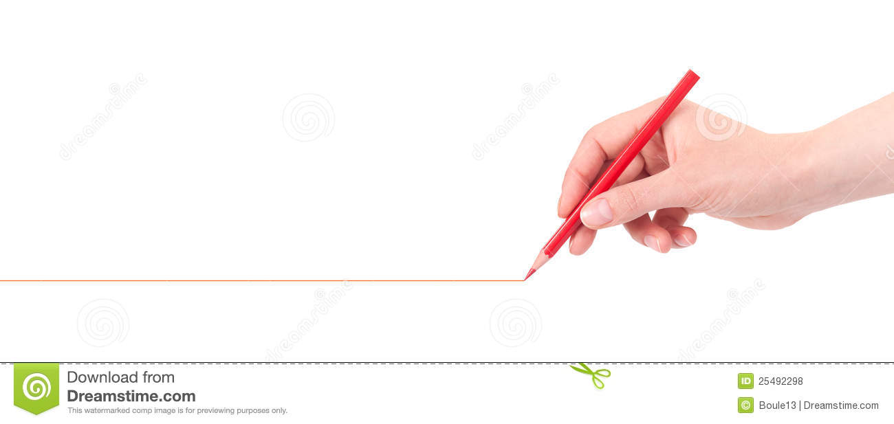 Drawing Lines Hand : Hand drawing red line with pencil royalty free stock