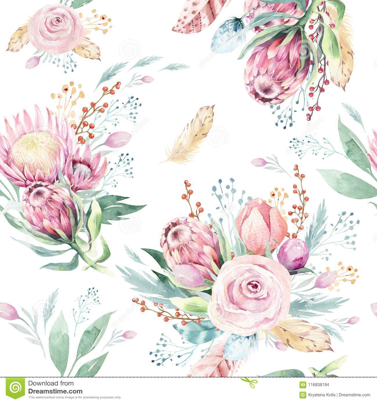 Hand drawing watercolor floral pattern with protea rose, leaves, branches and flowers. Bohemian seamless gold pink