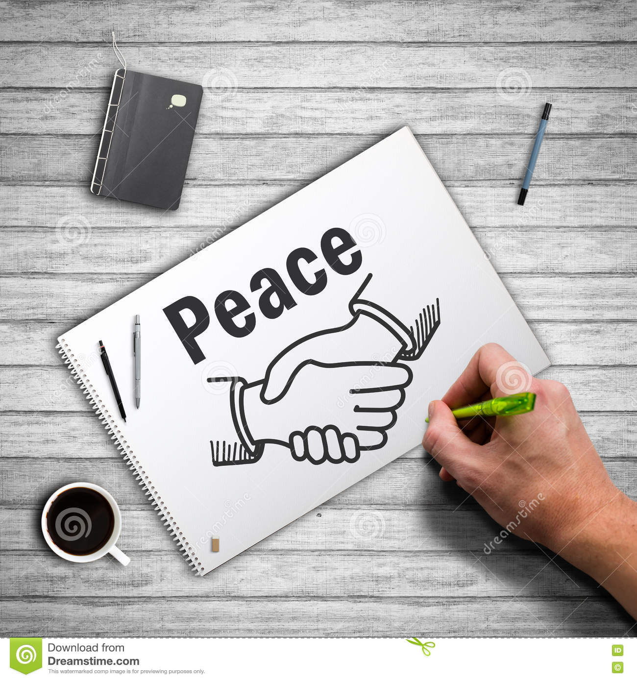 hand drawing shaking hands and the word peace stock image