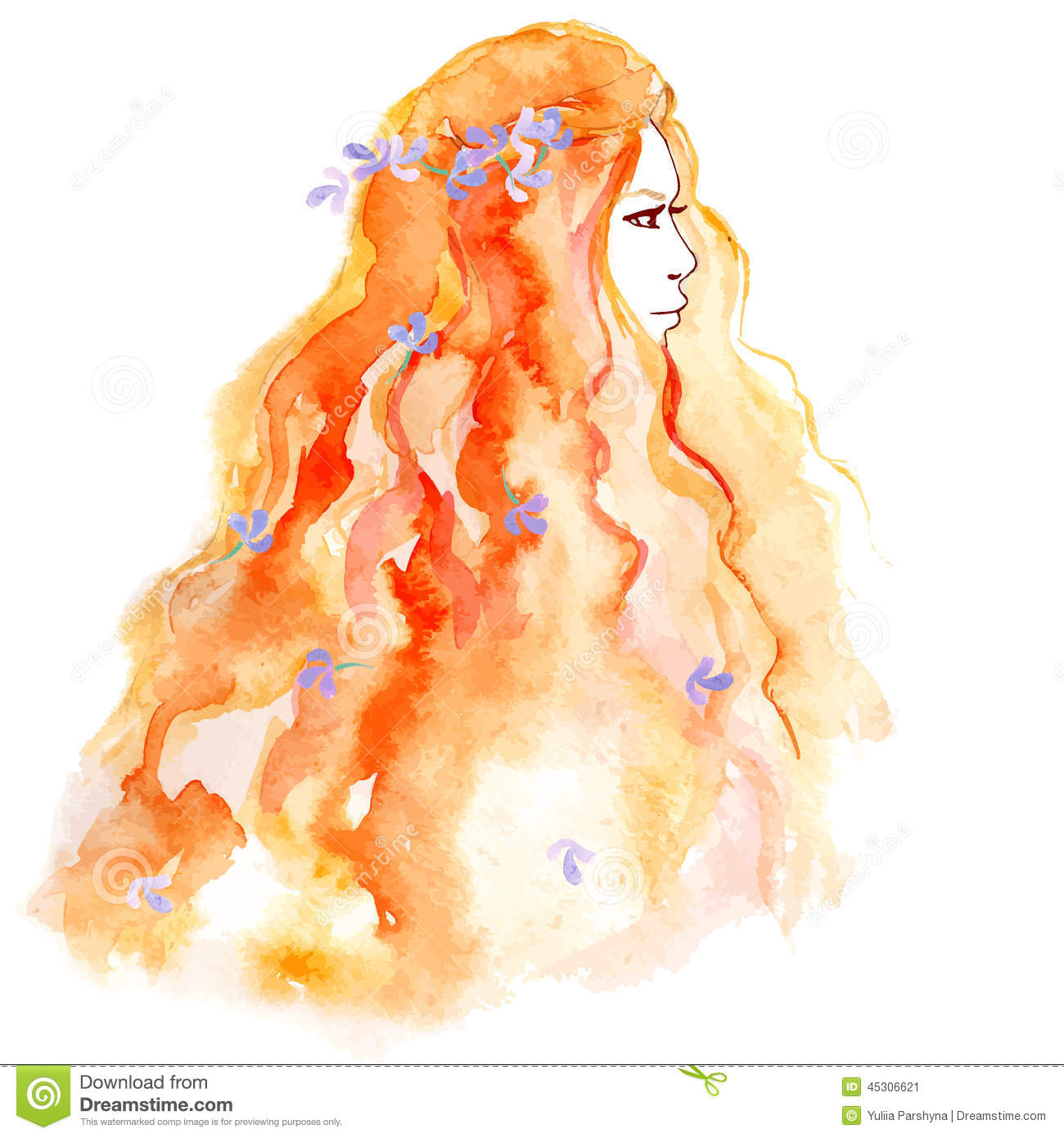 Hand Drawing Sketch Girl With Flower In Hair Stock Vector